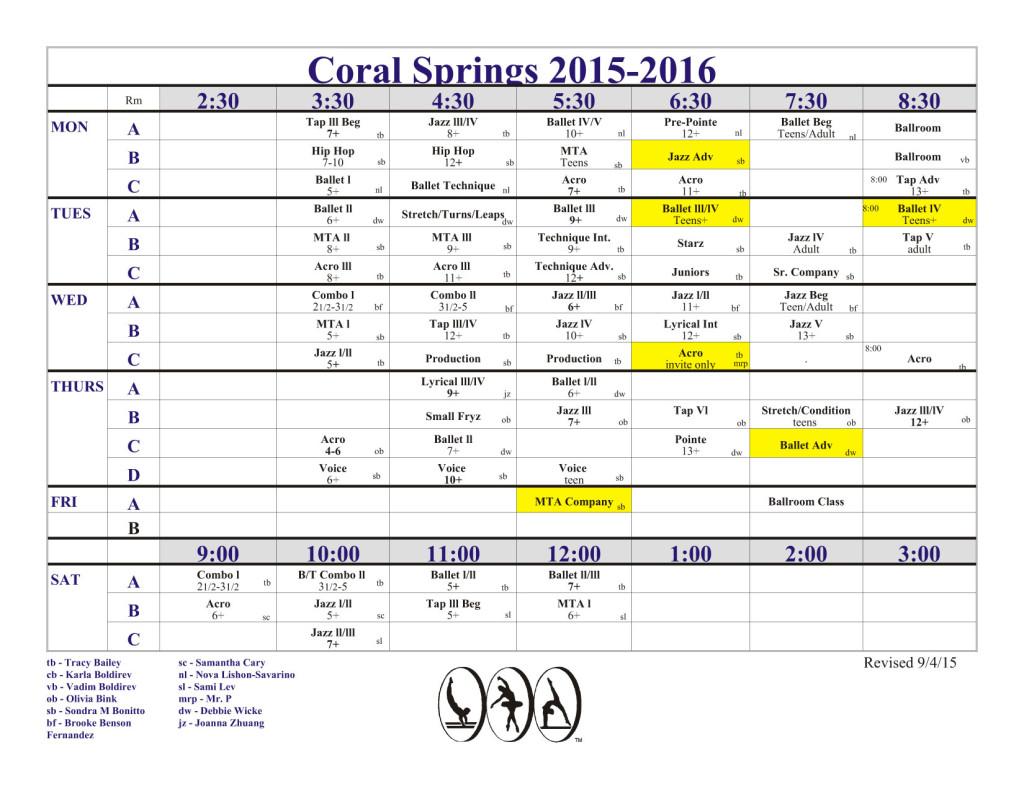 Class Schedule, updated 09/04/2015