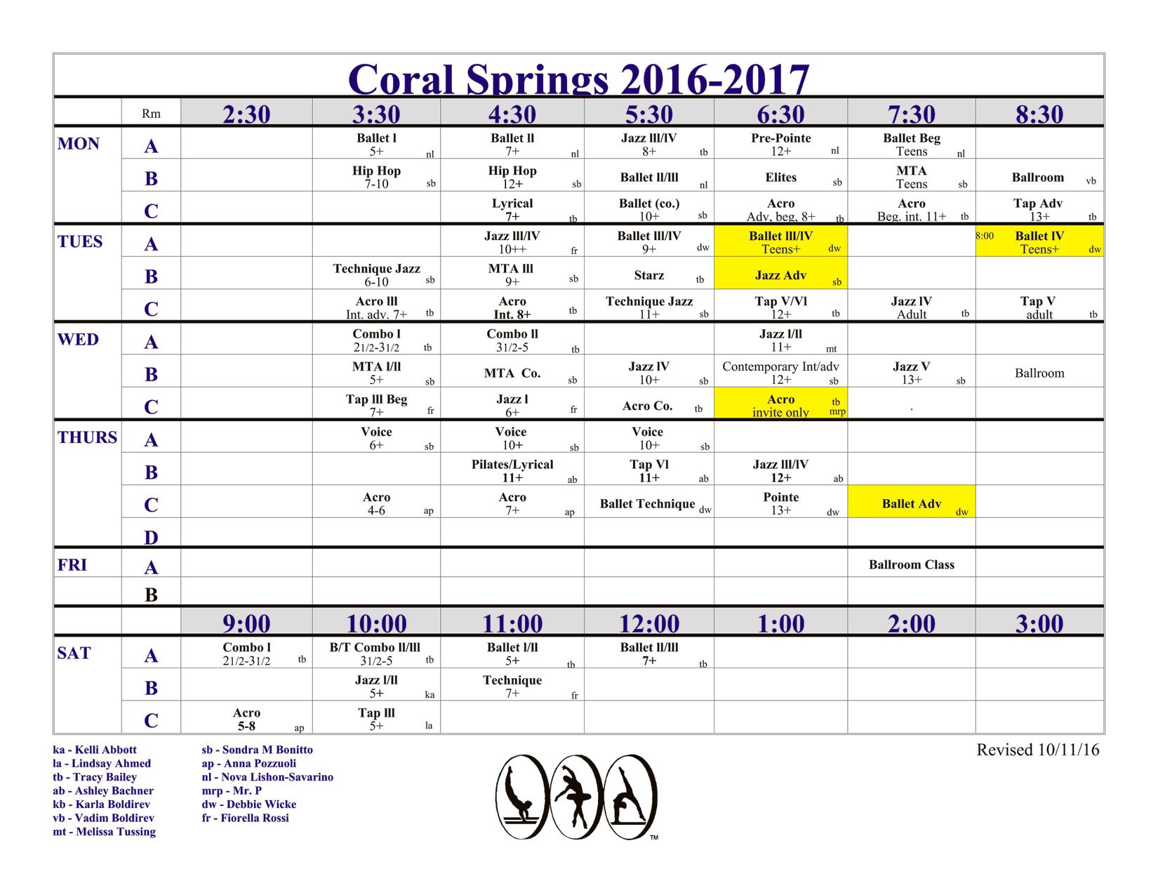 Class Schedule, updated 10/11/16