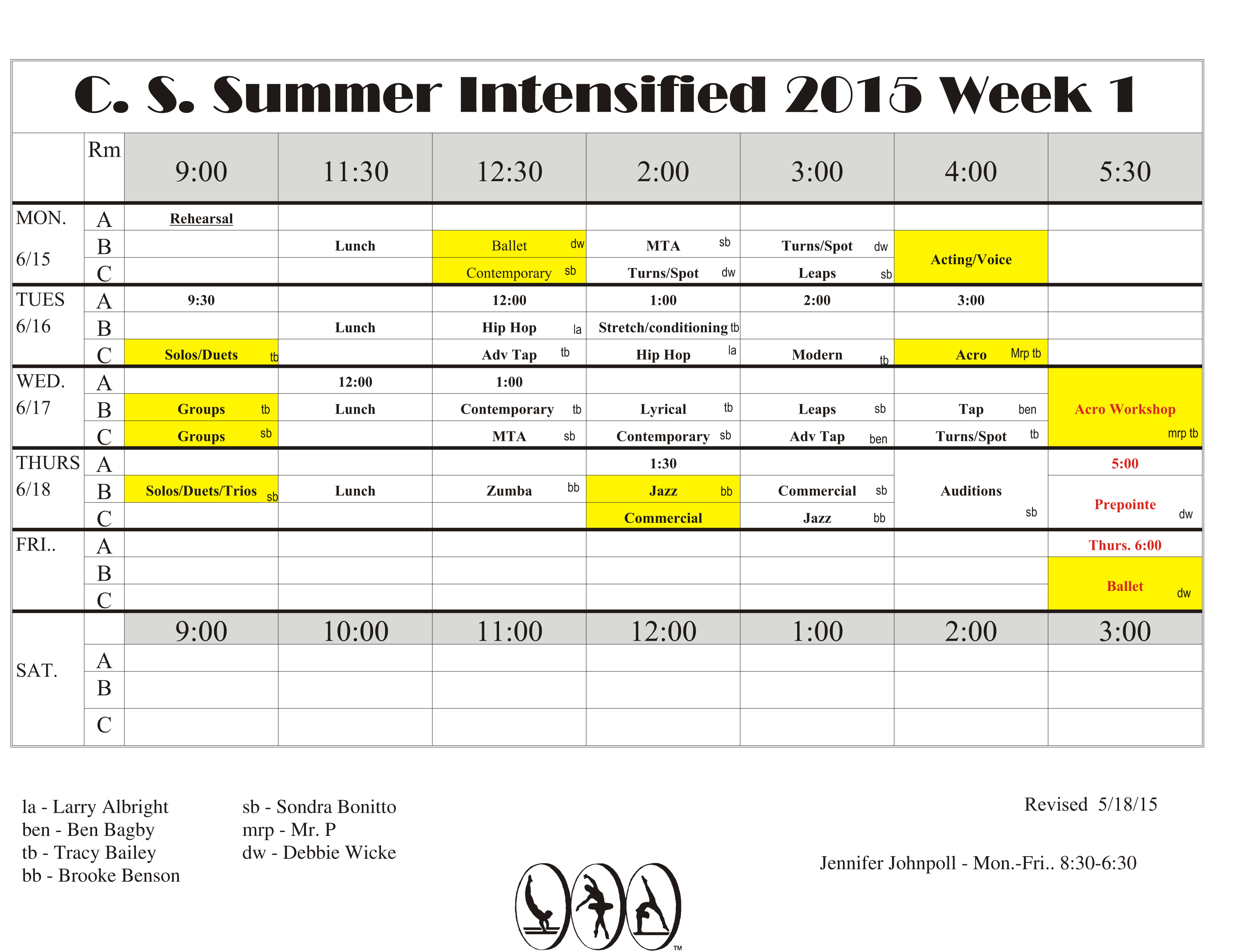 Summer Intensive Schedules Available