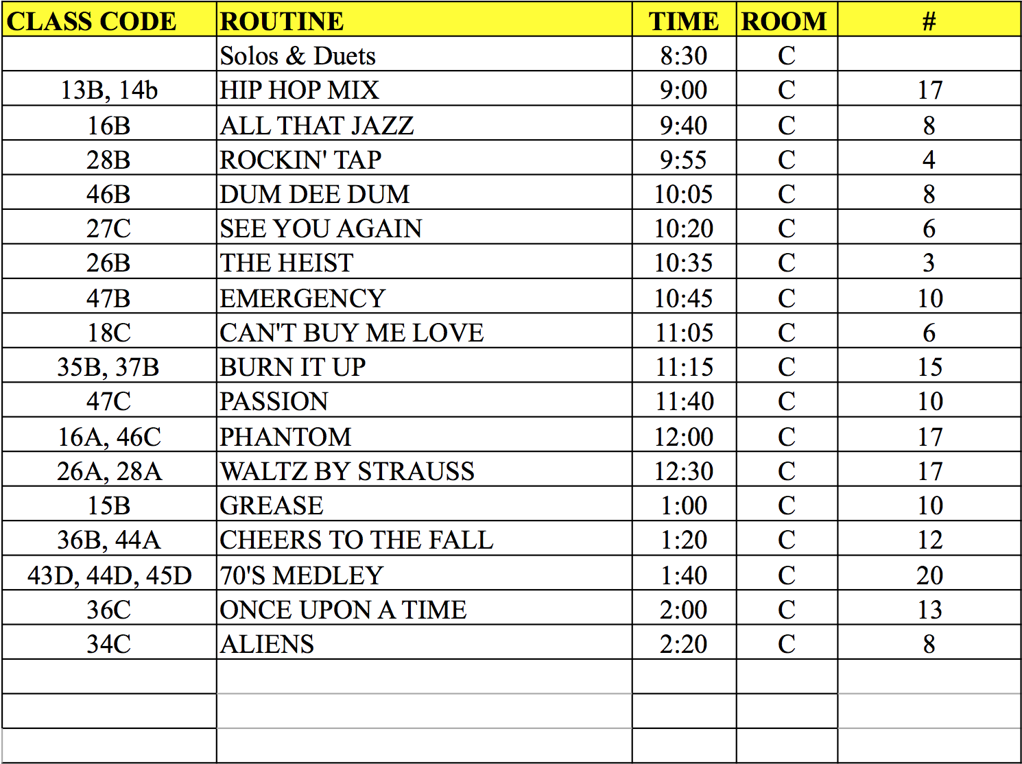 Picture Day Schedule Room C
