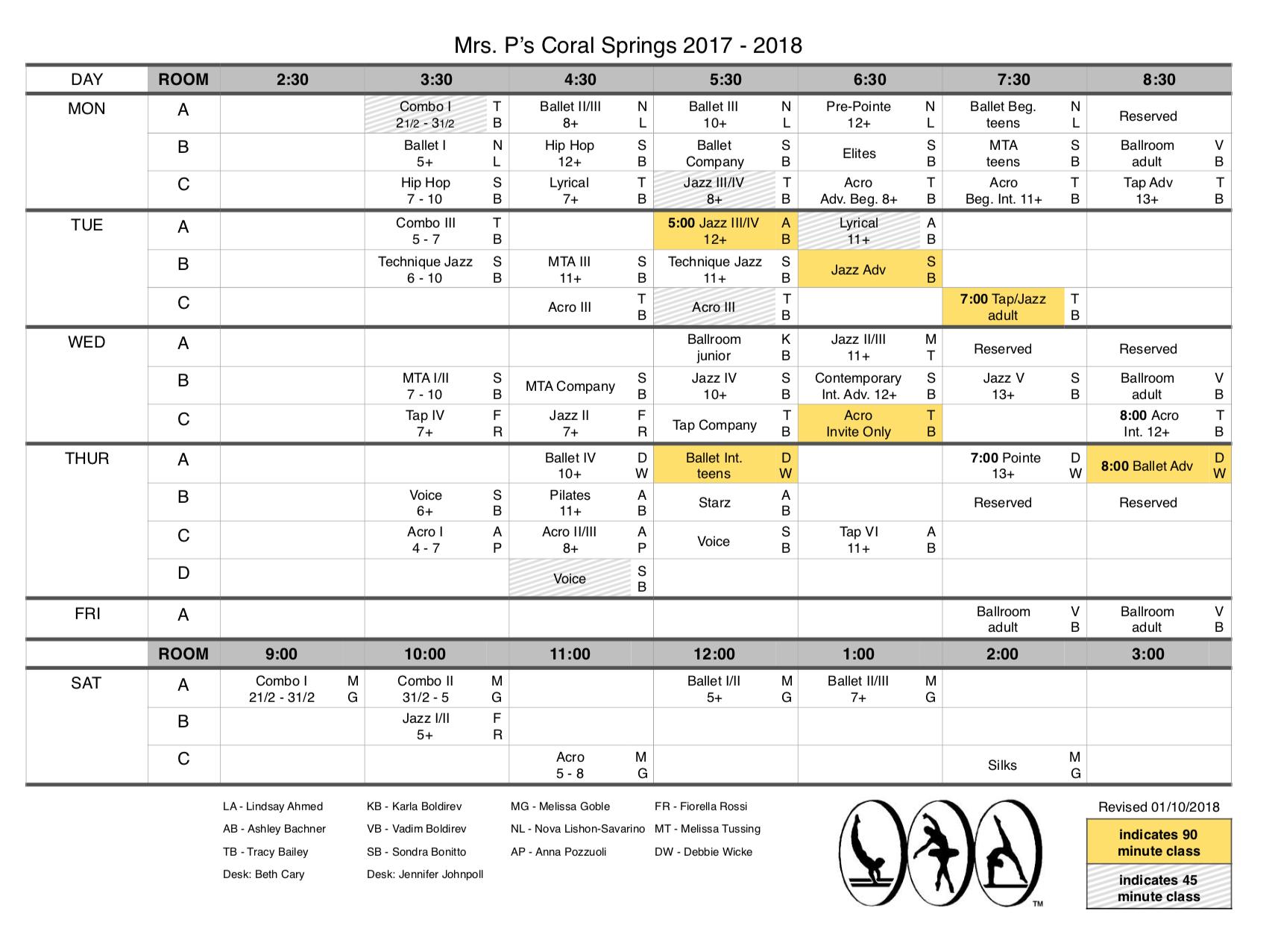 Studio Schedule, Updated 01/10/2018