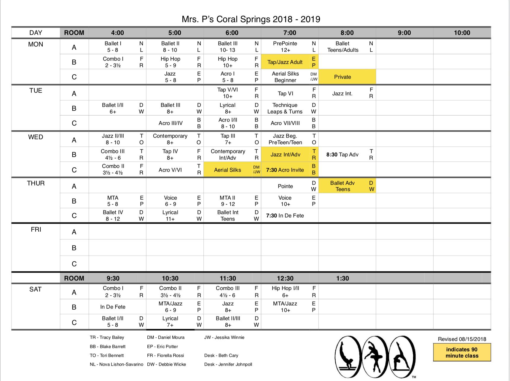 2018 - 2019 Schedule Updated 08/15/2018