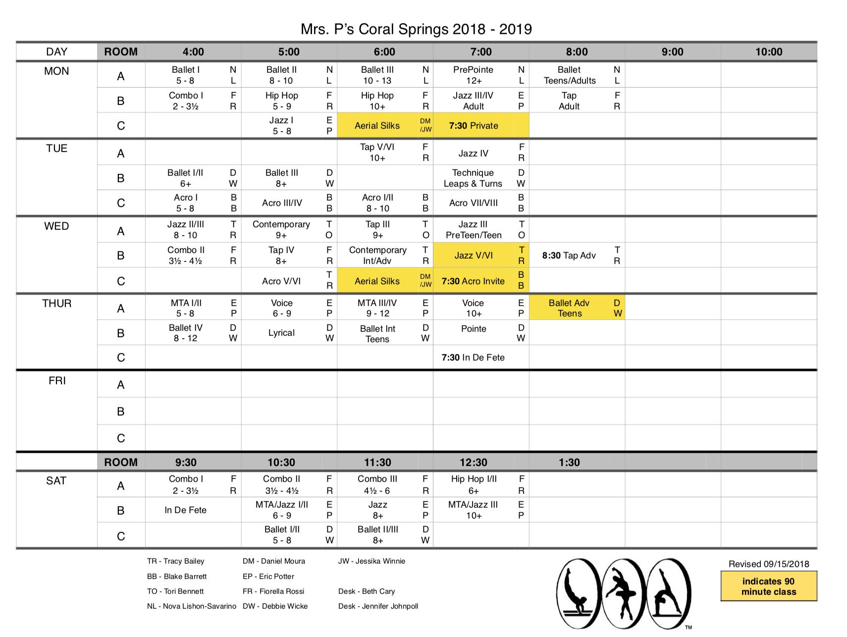 2018 - 2019 Schedule Updated 09/15/2018